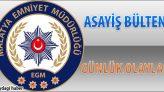 Malatya Asayiş Bülteni Günlük Olaylar 26 Kasım – 02 Aralık 2018