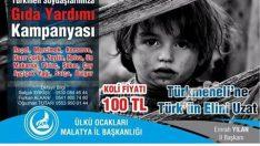Malatya Ülkü Ocakları Başkanlığı tarafından ,Elbab bölgesinde kahramanca mücadele veren Türkmen kardeşlerimize,11 Haziran'da gönderilmek üzere,gıda yardım kampanyası başlatıldı.