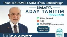 Saadet Partisi Malatya Aday Tanıtım Programı İLANDIR