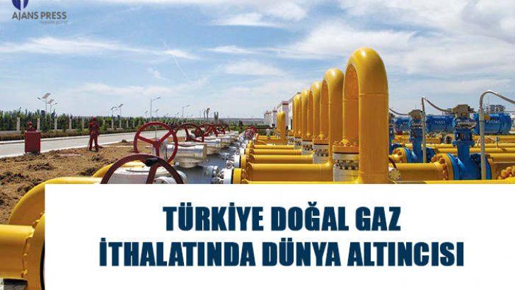 Türkiye doğal gaz ithalatında 216 ülke arasından 6. sıraya yerleşirken, 55 milyar 130 milyon metreküp ithal ettiği görüldü.