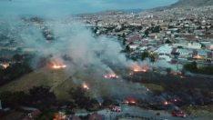 Yeşilkaynak Mahallesinde Çıkan Yangın Drone Kamerasına Yansıdı Video HABER