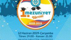 Malatya Turgut Özal Üniversitesi'nin (MTÜ) 2018-2019 yılı 1. Mezuniyet Töreni 12 Haziran Çarşamba günü gerçekleştirilecek