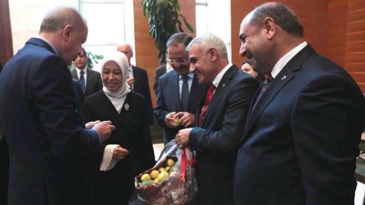 Cumhurbaşkanı Erdoğan'a Malatya kayısısı ikram ettiler