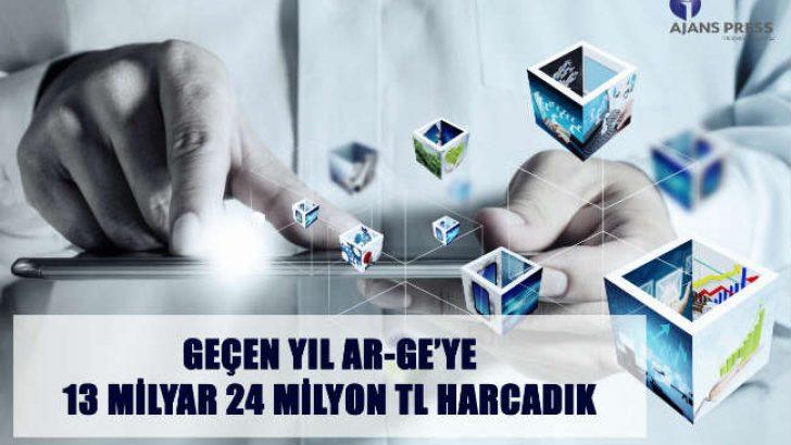 Geçen yıl Ar-Ge faaliyetleri için 13 milyar 24 milyon TL harcanırken, bu rakamın 2017 yılına göre yüzde 21,6 artış gösterdiği saptandı.