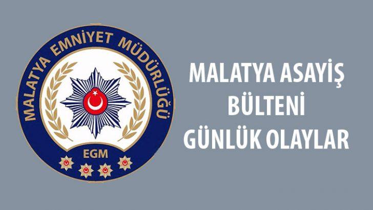Malatya Asayiş Bülteni Günlük Olaylar  04-10 Kasım 2019