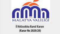İl Hıfzısıhha Kurul Kararı (Karar No 2020/20)