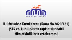 Malatya'da STK vb. kuruluşlarda toplantılar dâhil tüm etkinliklerin ertelenmesine karar verildi