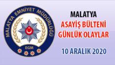 Malatya Asayiş Bülteni Günlük Olaylar 10 Aralık 2020