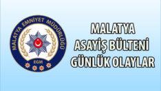 Malatya Asayiş Bülteni Günlük Olaylar 29 Mart – 04 Nisan 2021