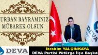Başkan Yalçınkaya'nın Kurban Bayramı Mesajı