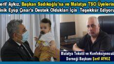 MATEK – DER Başkanı Şerif Aykız'dan, Başkan Sadıkoğlu'na Teşekkür